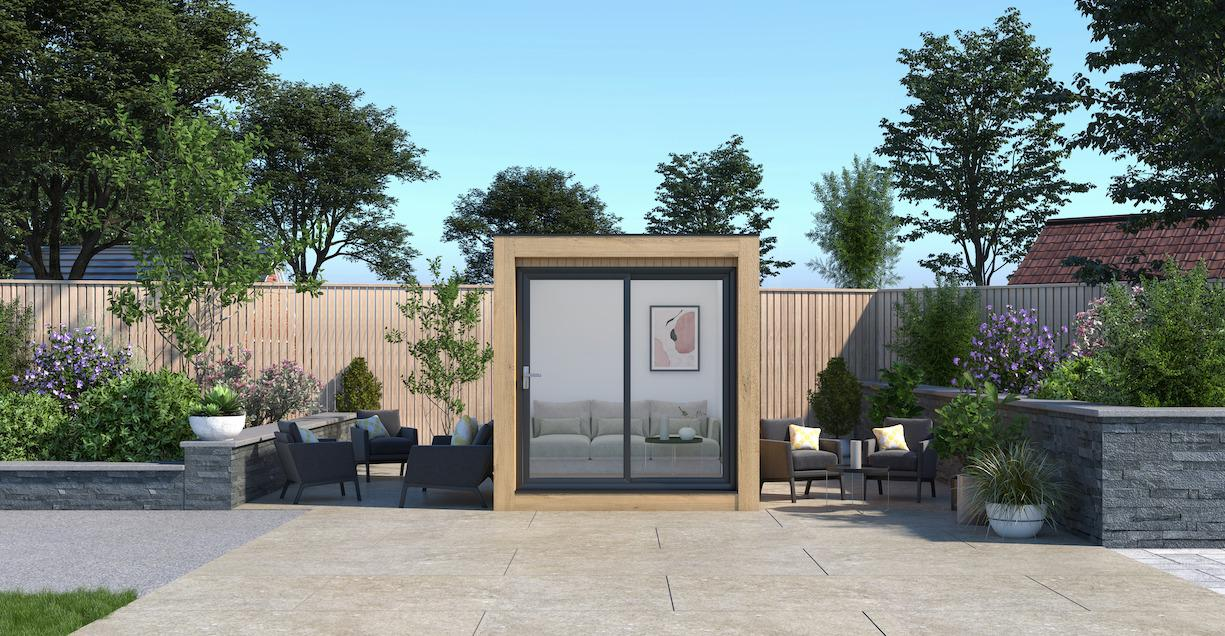 timber wood insulated garden room with french patio doors