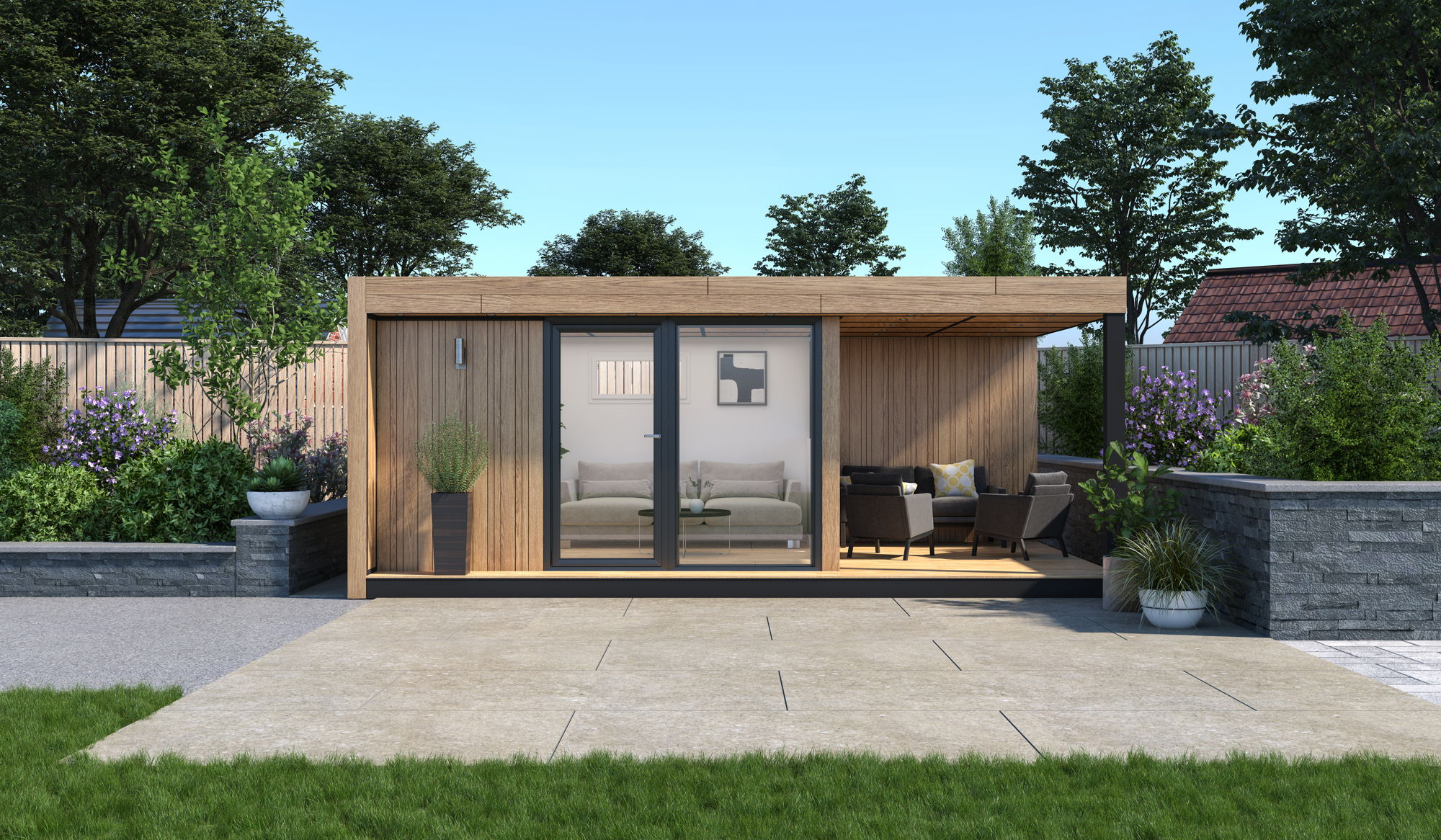 timber garden room with canopy outdoor space insulated