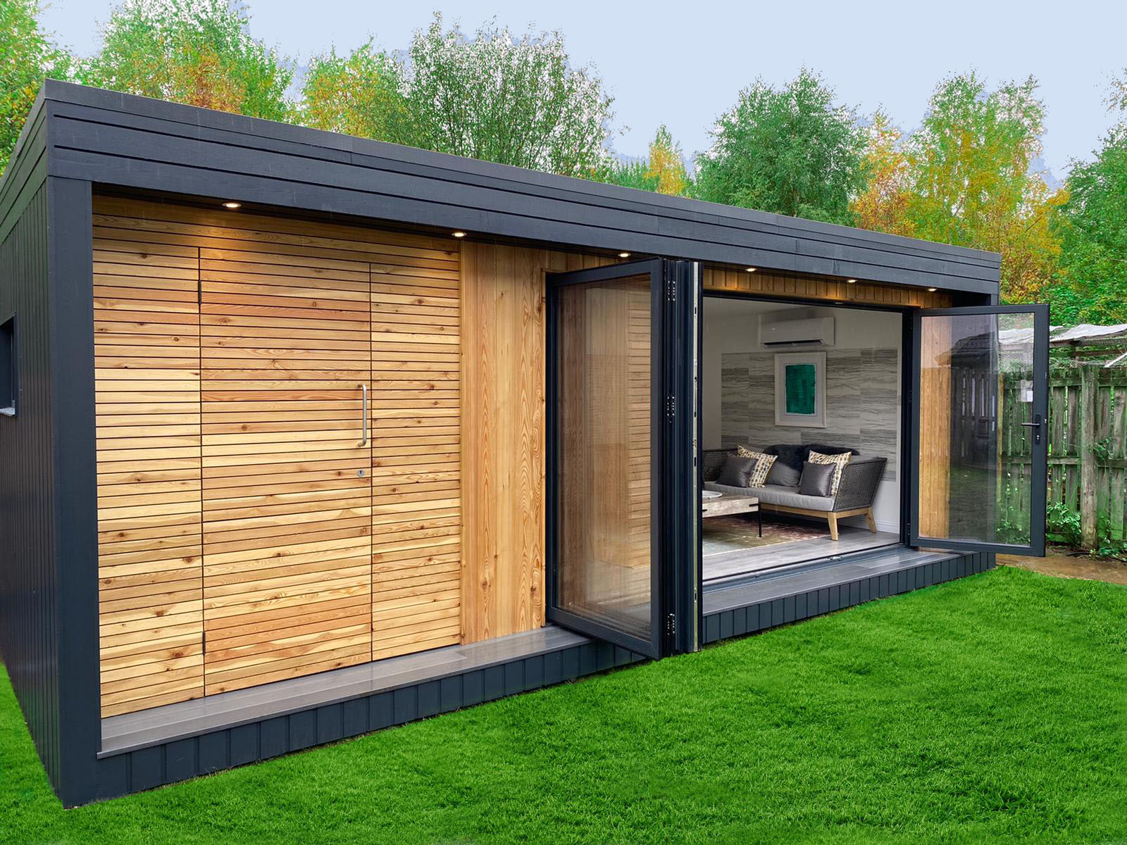 large insulated timber garden room with bifold doors